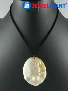 """SIGNED STERLING SILVER NECKLACE 17"""" SHELL CAMEO PENDANT 19.3 G #cu265"""