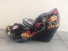 Irregular Choice 'Blossom Bloom' (B) Black Wedge High Heel Shoes