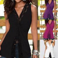 Women's Casual Vest V-Neck Lace Sleeveless Bandage T Shirt Tunic Tops Blouse