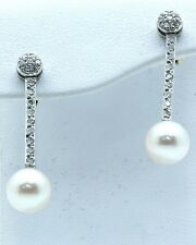 Diamond and Pearl Earrings 18k White gold with 0.30ct Diamonds + 7.5mm pearls
