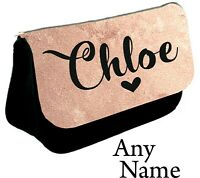 Personalised girls ladies Name Pencil Case make up bag school cosmetics gift