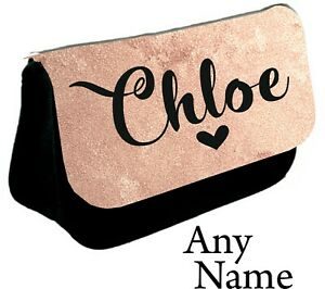 Personalised girls ladies Name Pencil Case make up bag school cosmetics gift