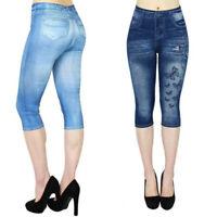 Women's Jean-like Hollow-out Printed High-waist Elastic Seven-cent Pants DZ