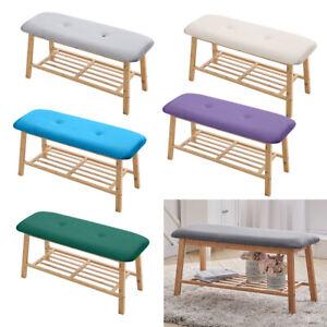 Velvet Padded Wooden Bench Hallway Shoe Storage Rack Stool Dining Window Seat