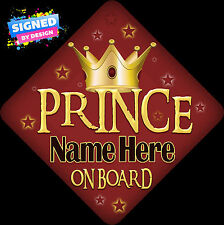 Personalised Prince On Board Child/Baby on Board Car Sign Retro Red & Gold New