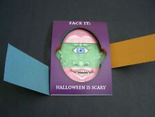 NEW Vintage SCARY UGLY MUGS Changeable Faces HALLOWEEN CARD & ENVELOPE NEW