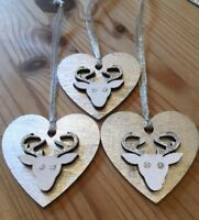 3 X Reindeer Stag Christmas Decorations Shabby Chic Nordic Wood Heart Silver