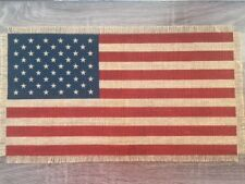 "10.5"" x 19"" Burlap American Flag Table Decor - United States of America - USA"