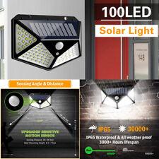 100 LED Solar Luz de Pared Impermeable Sensor de Movimiento Lámpara Exterior