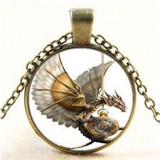 Vintage Steampunk Dragon Photo Cabochon Glass Bronze Pendant Necklace CHI