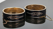 Victorian Mourning Seed Pearl Enamel, 9K Yellow Gold Hinged Bangle Bracelets