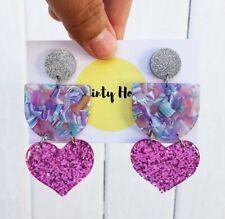 Penny triple dangle mixed material statement earrings purple glitter resin heart