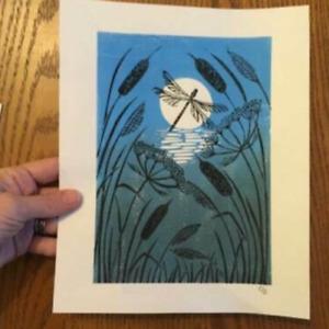 Handmade Lino Print, Grey Teasels Lino print