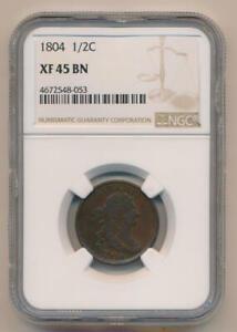 1804 Draped Bust Half 1/2 Cent. NGC XF45