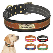 Soft Leather Personalised Dog Collars Pet Name Tag Engraved for Medium Large Dog