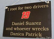 Daniel Suarez wrecks Danica Patrick Rare Driver Sign Racing Bar Tickets Mexico
