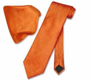 Vesuvio Napoli Burnt Orange PAISLEY NeckTie Handkerchief Matching Neck Tie Set
