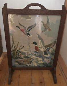 ART DECO Vintage FIRE SCREEN Oak Tapestry / Needlework Flying Ducks scene
