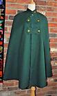 Vintage 1940s GREEN CAPE Wool COAT Cloak Coat CANADA Lined Arm? Nurse? Sorority?