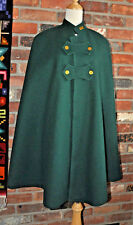 Vintage 1940s GREEN CAPE Wool COAT Cloak Coat CANADA Lined Arm? Nurse? Sorority?
