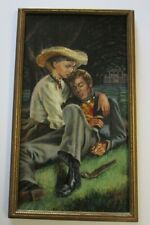 ORIGINAL AMERICAN PAINTING ON BOARD ROMANTIC ILLUSTRATION  SIGNED MYSTERY ART