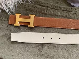 Hermes 32MM Belt Tan & Cream Gold Brushed Buckle Size 90cm