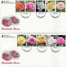Bermuda 2014 FDC Bermuda Roses 10v Set on 2 Covers Flowers Flora Nature