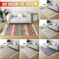 Bohemian Hand Woven Carpet Rugs Floor Mat Geometric Tassel Bedside Home Decor AU