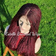 Red Burgundy Wig, Braided Wig,Micro Twist Wig With Baby Hair, Senegalese Twists