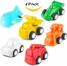 HISTOYE Toy Cars for 1 2 3 Year Old Boys & Girls Pull Back, 6 Pack Traffic Truck