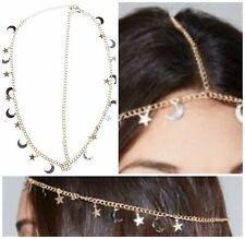 Celestial Star Moon Head Hair Chain Charms Gold Metal Boho Gypsy Jewelry NEW