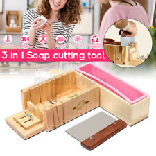 3 in 1 Wooden Handmade Loaf Soap Cake Mould Making Mold Tool Slicer Cutting