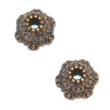 M3160 Antiqued Copper 10mm Fancy Scalloped Dotted Metal Bead Caps 25pc