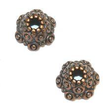 M3160p Antiqued Copper 10mm Fancy Scalloped Dotted Metal Bead Caps 25/pkg