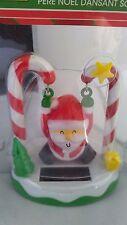 Solar Power Swinging Christmas Santa on Candy Cane Holiday Home Decor Toy