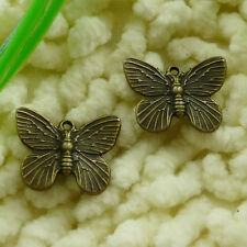 Free Ship 210 pcs Antique bronze butterfly charms 19x14mm #2557