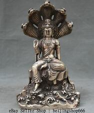 "11""Tibet Buddhism Temple Silver 5-Heads Snake Naga Kanya Buddha Statue Sculpture"