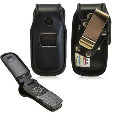 Rugged Fitted Genuine Leather Case and metal clip for Tracfone LG 236c