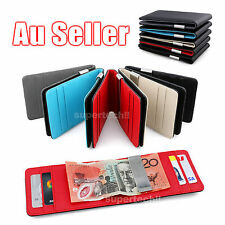 Wallet Money Clip Mens Womens Black Leather Credit Card Holder Ultra Slim Wallet