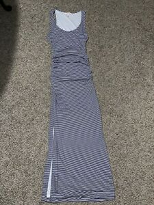 Victoria's Secret Maxi Tank Beach Dress Ruched Side Slits Blue White Sz XS
