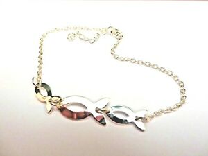 SILVER 3 LINKED FISH ANKLET / ANKLE CHAIN  22+ 4 cm extendable new voile pouch