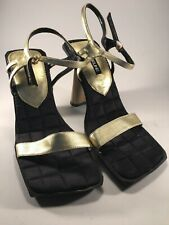 Women's Black & Gold Pumps by Madeline Size 9