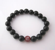 OM Buddha Red AGATE and ONYX natural gemstone beaded elastic bracelet