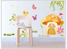 Wandtattoo Aufkleber Deko  Pilzhaus schmetterlinge  Kinderzimmer sticker #5087