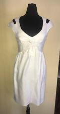 Escada Silk Dress Tie Empire Waist Cap Sleeve Cut Out Accents Deep Open Neck Ex