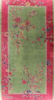 Antique Art Deco Rug Oriental Oversize Wool Floral Handmade Chinese Carpet 10x19