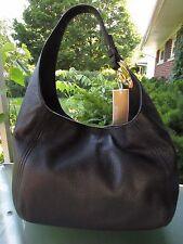 $328 MICHAEL KORS Fulton Black Leather Slouchy Hobo Shoulder Bag Purse NEW