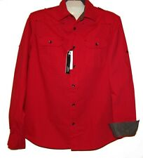 Xios Mens Red Blouse Cotton Size XL  NEW