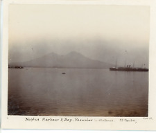 Italy, Naples Harbour & Bay, Vesuvius in distance from SS. Oruba  Vintage citrat