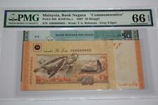 (PL) NEW: RM 20 UNC & RM 50 AB 6666665 PMG 66 EPQ ZETI ALMOST SOLID NUMBER 6
